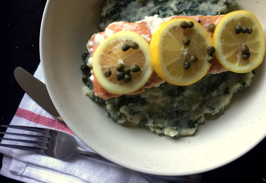 Kale Mashed Potatoes and Baked Salmon with Lemon and Capers