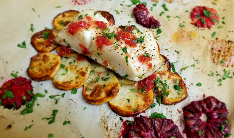 Baked Chilean Sea Bass with Orange Butter Sauce
