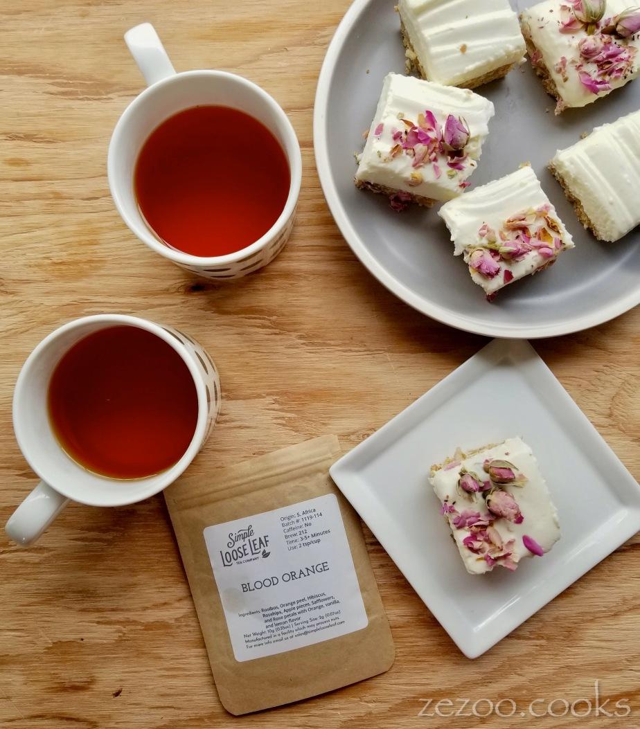 Blood Orange Rooibos Tea + Rose CheesecakeSquares