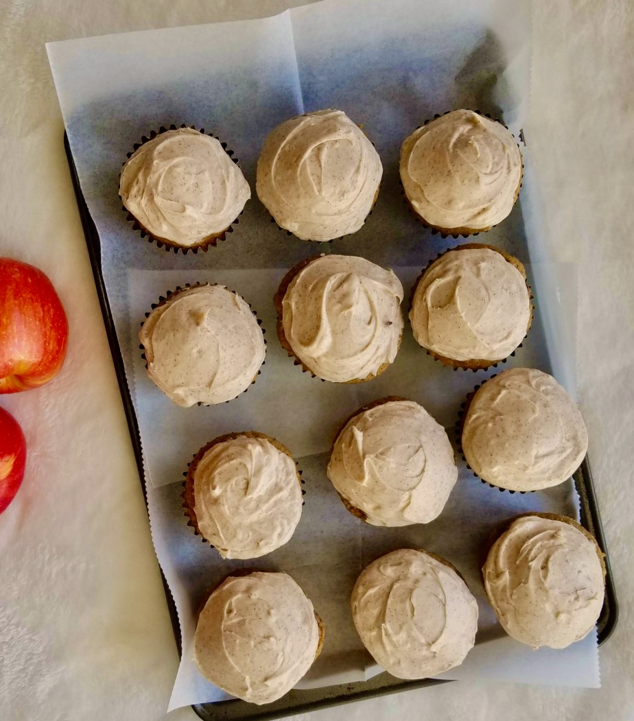 Chai-spiced Applesauce cupcakes with cream cheesefrosting